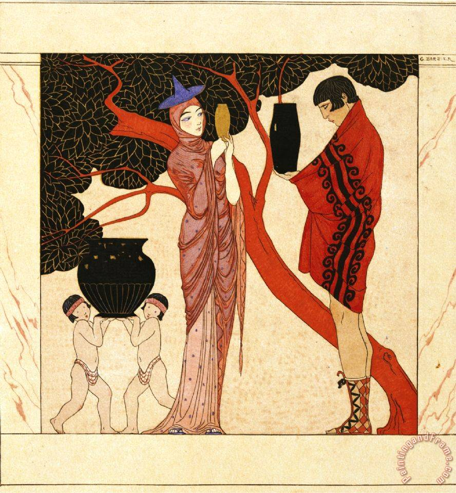 The Red Tree painting - Georges Barbier The Red Tree Art Print