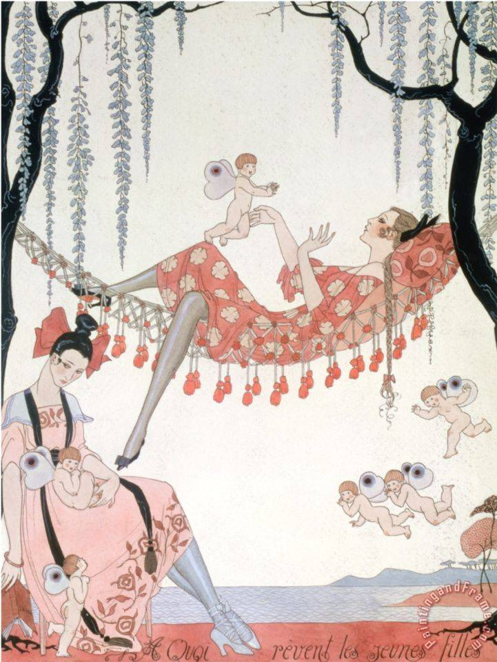 What Do Young Women Dream of a Quoi Revent Les Jeunes Filles painting - Georges Barbier What Do Young Women Dream of a Quoi Revent Les Jeunes Filles Art Print