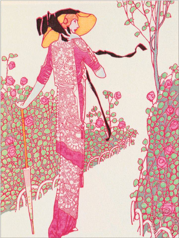 Woman in Pink Dress painting - Georges Barbier Woman in Pink Dress Art Print