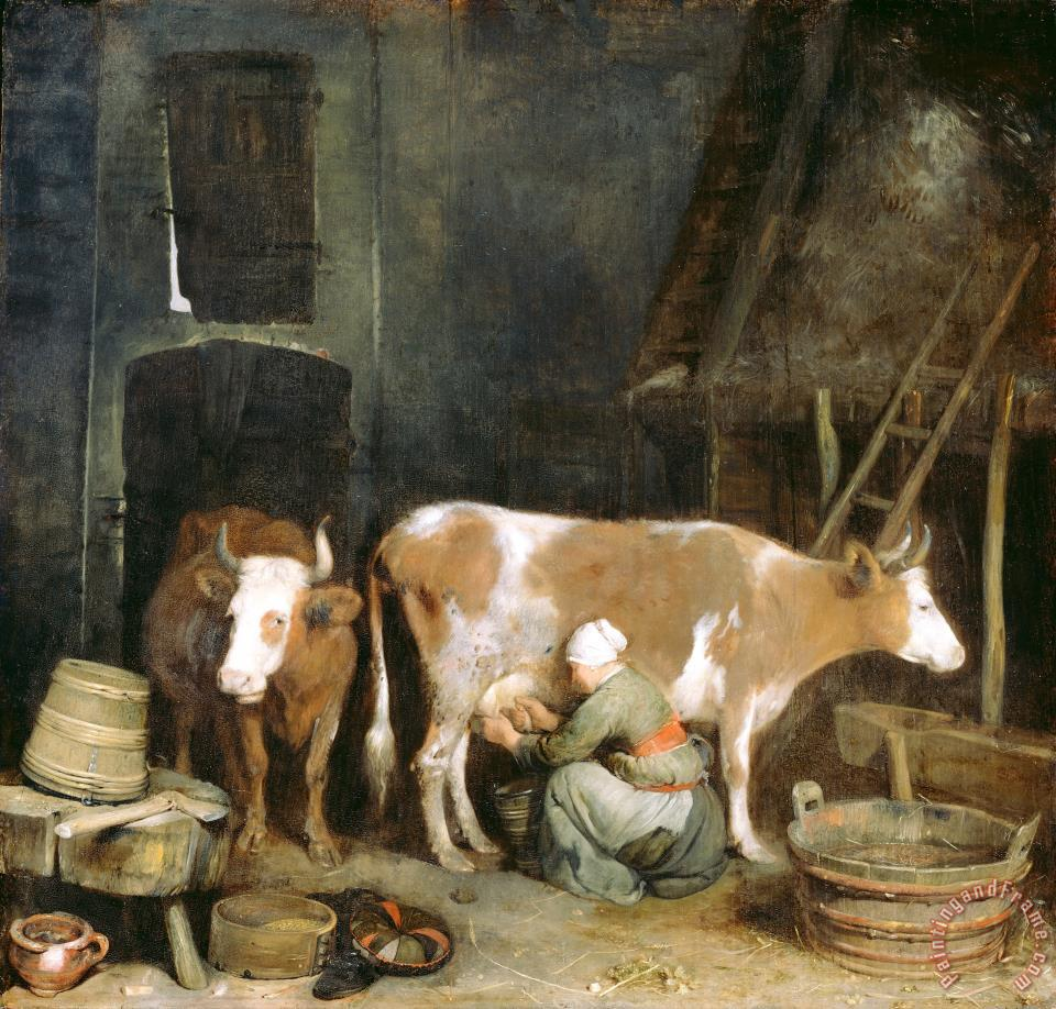 Gerard ter Borch A Maid Milking a Cow in a Barn Art Painting