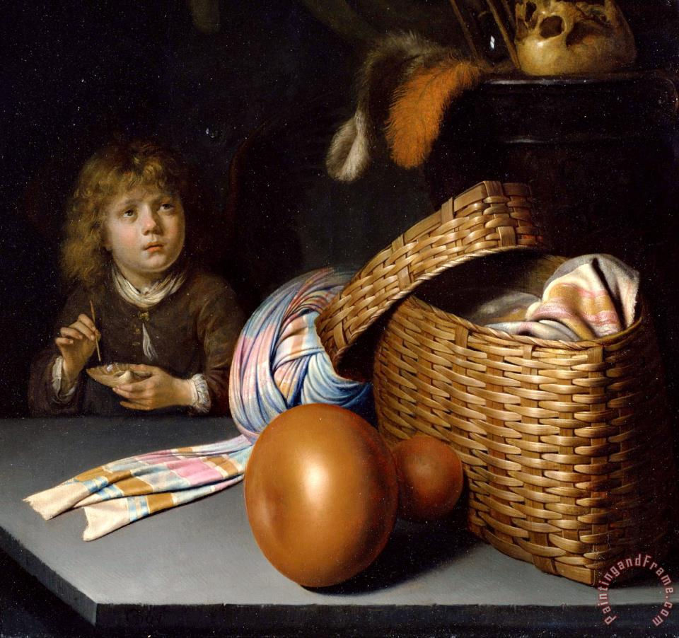 Still Life with a Boy Blowing Soap Bubbles painting - Gerrit Dou Still Life with a Boy Blowing Soap Bubbles Art Print