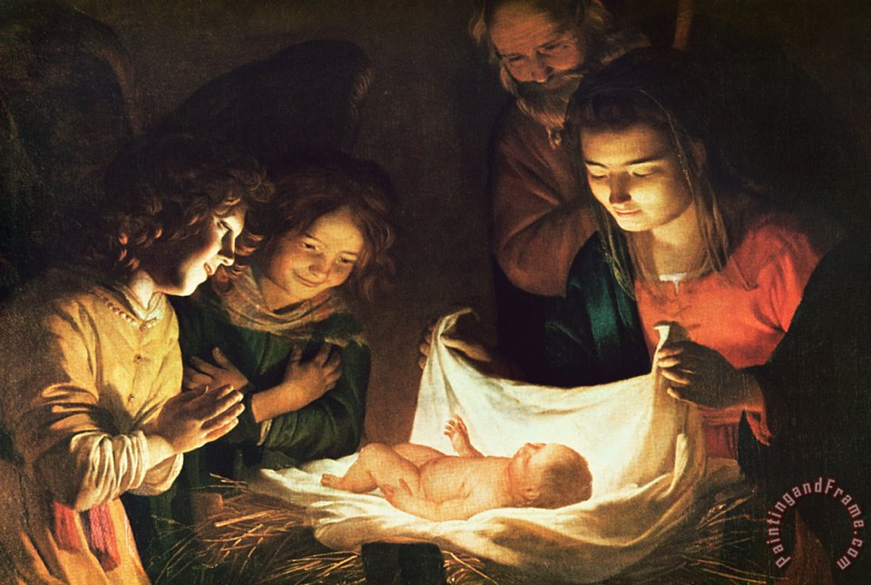 Adoration of the baby painting - Gerrit van Honthorst Adoration of the baby Art Print