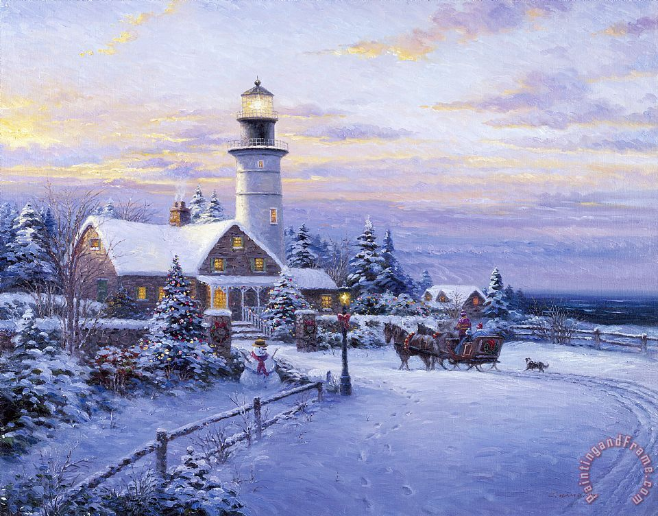 Ghambaro Winter Lighthouse painting - Winter Lighthouse ...