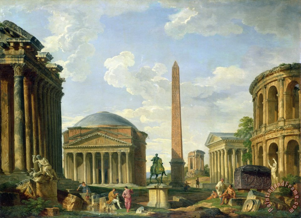 The Pantheon and other Monuments 1735 painting - Giovani Paolo Panini The Pantheon and other Monuments 1735 Art Print