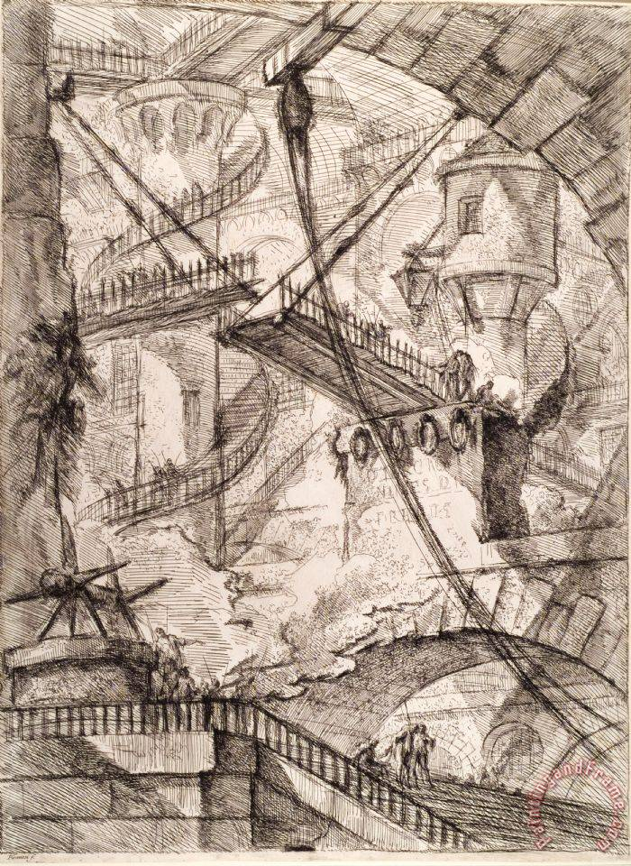 The Drawbridge painting - Giovanni Battista Piranesi The Drawbridge Art Print
