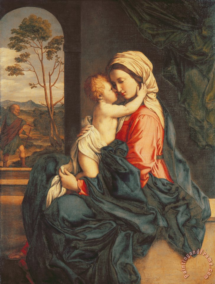 The Virgin and Child Embracing painting - Giovanni Battista Salvi The Virgin and Child Embracing Art Print
