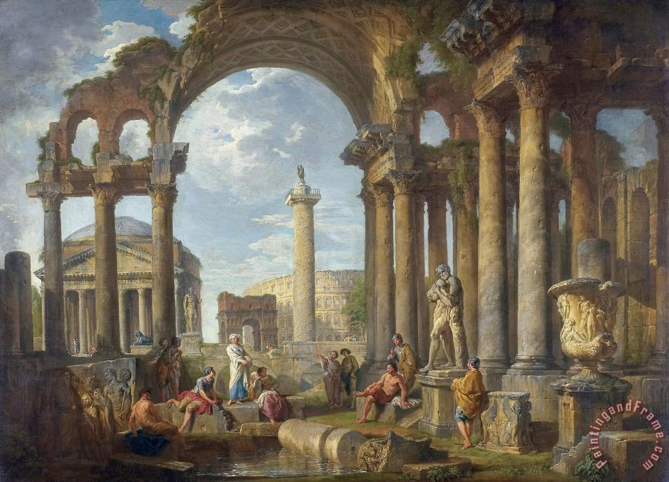 Giovanni Paolo Panini A Capriccio of Roman Ruins with The Pantheon Art Painting