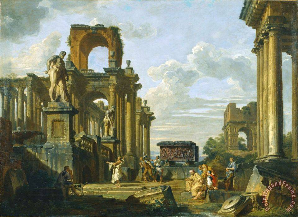 An Architectural Capriccio of The Roman Forum with Philosophers And Soldiers Among Ancient Ruins, In... painting - Giovanni Paolo Panini An Architectural Capriccio of The Roman Forum with Philosophers And Soldiers Among Ancient Ruins, In... Art Print