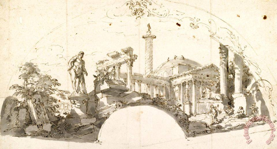 Giovanni Paolo Panini Design for a Fan Capriccio with Roman Ruins And The Farnese Hercules Art Painting