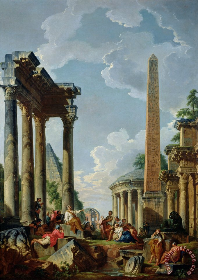 Giovanni Paolo Pannini or Panini Architectural Capriccio with a Preacher in the Ruins Art Painting