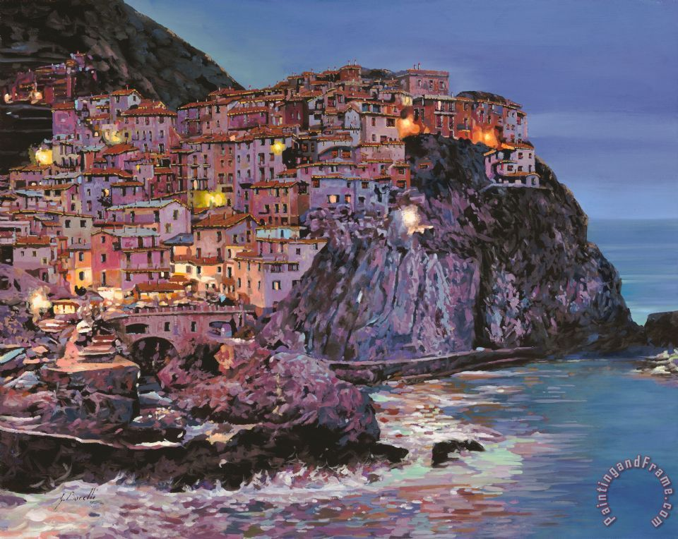 Manarola at dusk painting - Collection 7 Manarola at dusk Art Print