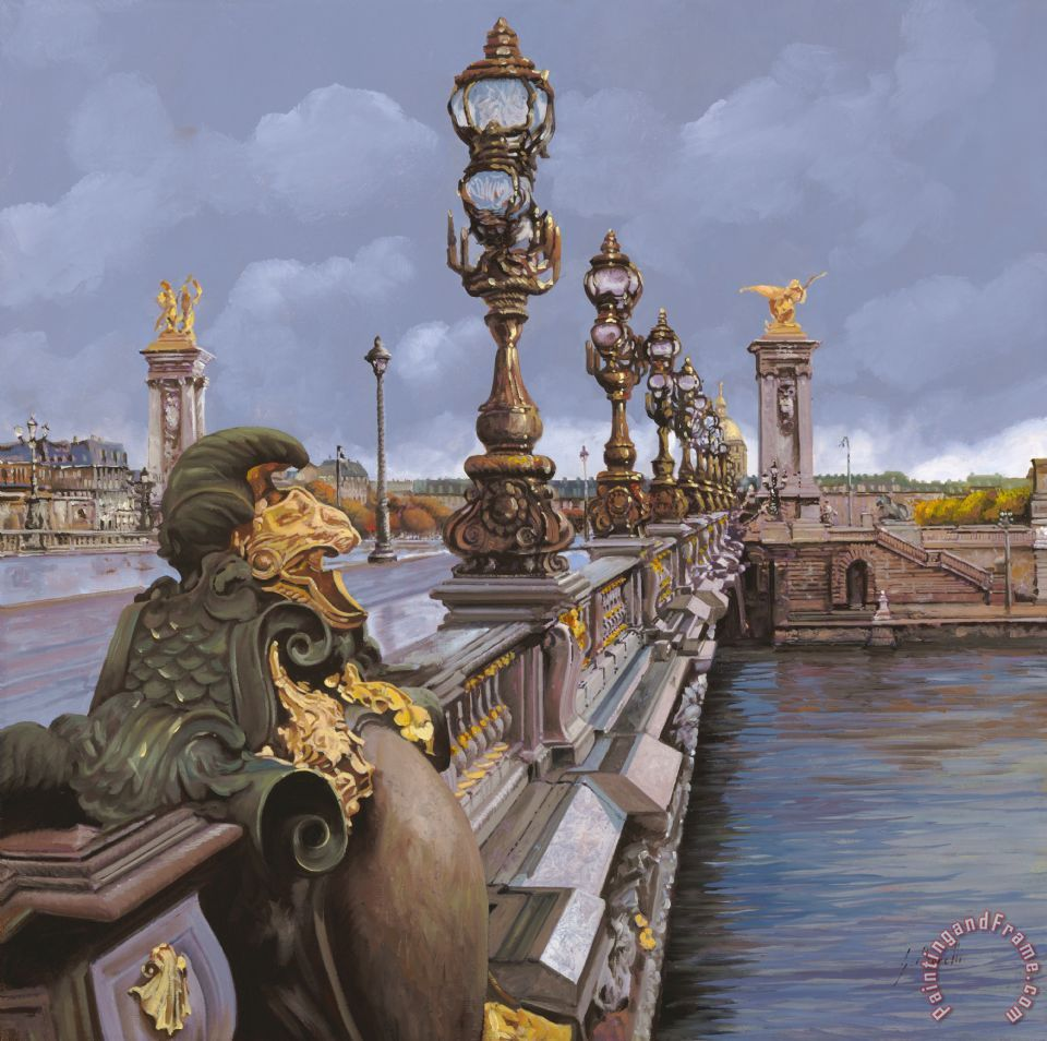 Paris-pont Alexandre III painting - Collection 7 Paris-pont Alexandre III Art Print