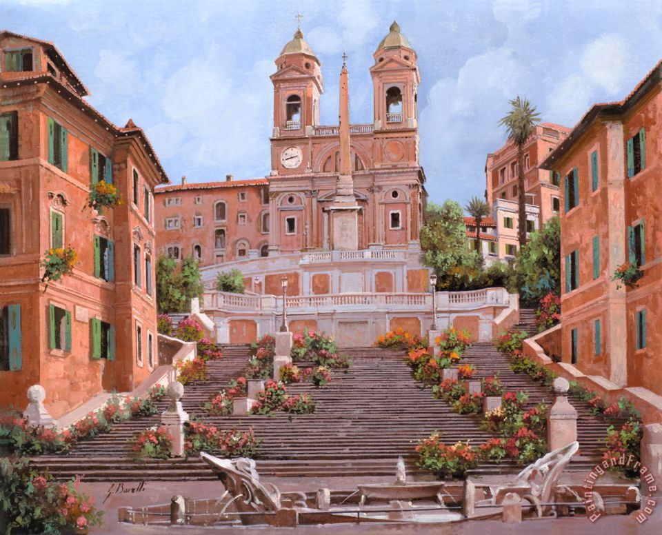 Rome-Piazza di Spagna painting - Collection 7 Rome-Piazza di Spagna Art Print