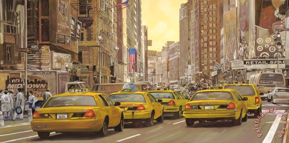 taxi a New York painting - Collection 7 taxi a New York Art Print
