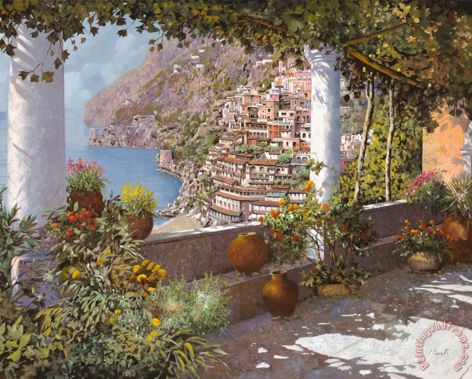 terrazza a Positano painting - Collection 7 terrazza a Positano Art Print