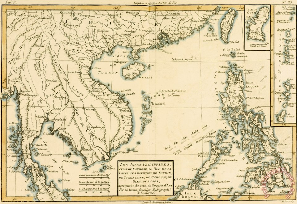 Guillaume Raynal Antique Map of South East Asia Art Painting