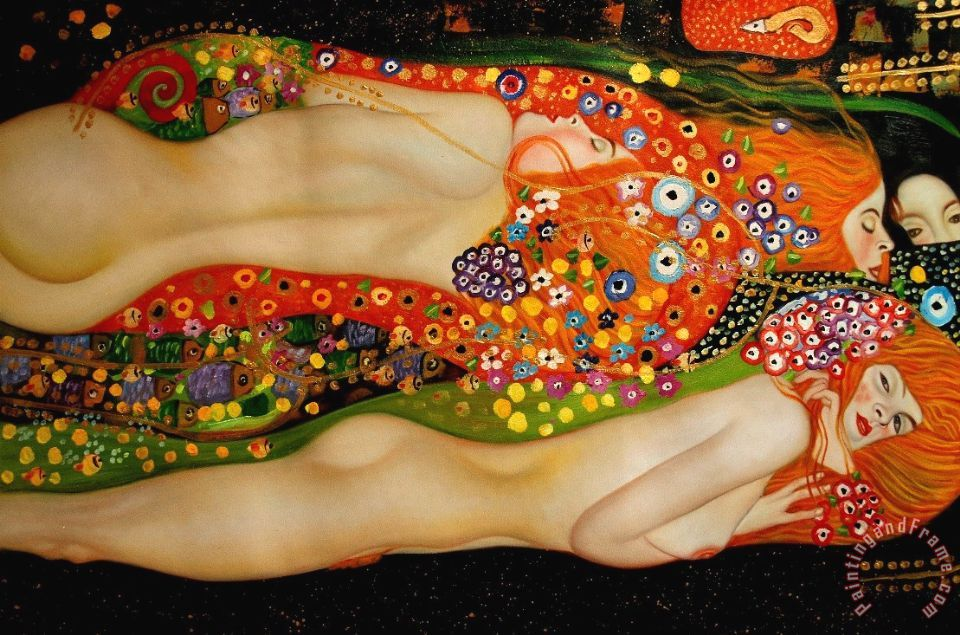 Gustav Klimt Sea Serpents Ii Art Print