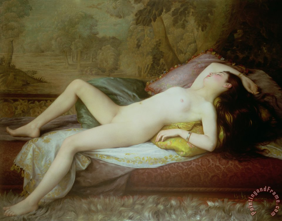 Nude lying on a chaise longue painting - Gustave-Henri-Eugene Delhumeau Nude lying on a chaise longue Art Print