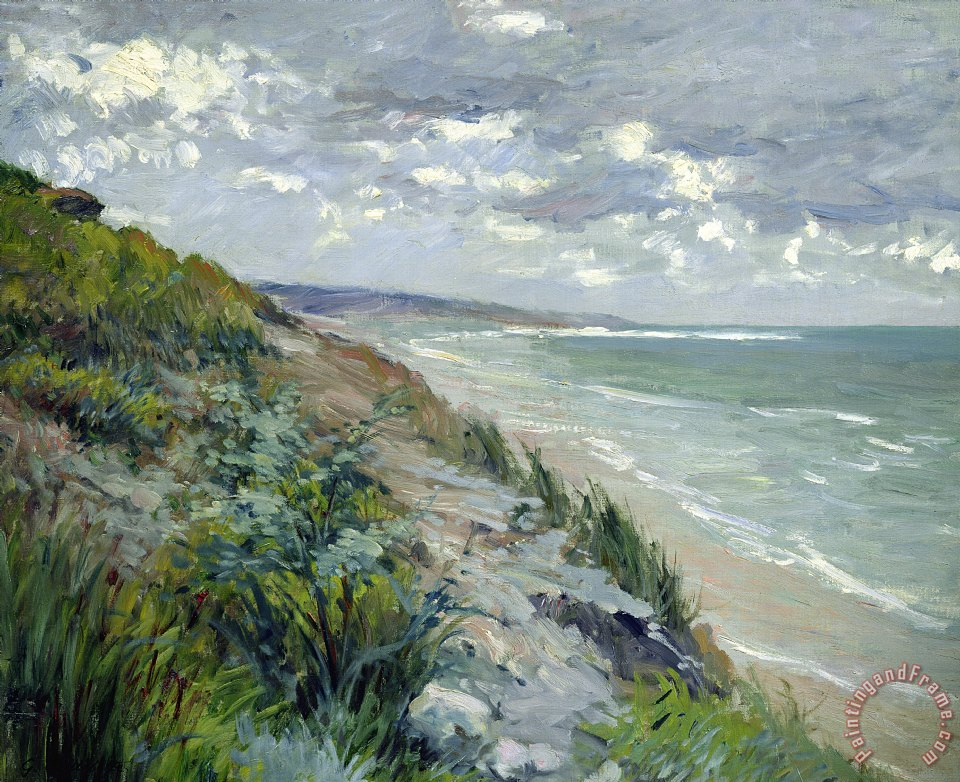 Cliffs by the sea at Trouville painting - Gustave Caillebotte Cliffs by the sea at Trouville Art Print