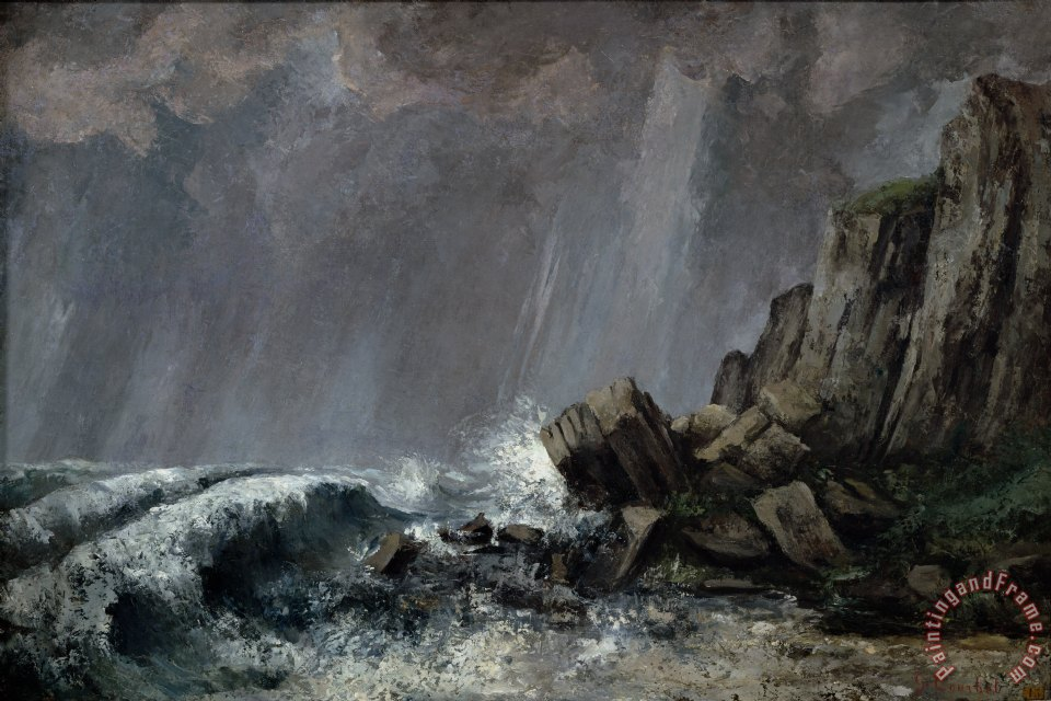 Gustave Courbet Downpour at Etretat Art Print