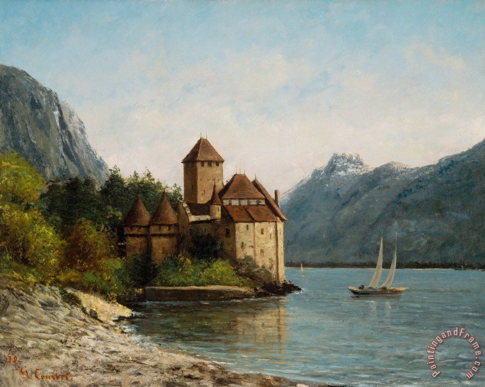 Gustave Courbet The Castle of Chillon Evening Art Print