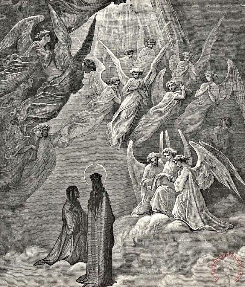 Angels In Heaven Dante's Divine Comedy Illustration painting - Gustave Dore Angels In Heaven Dante's Divine Comedy Illustration Art Print