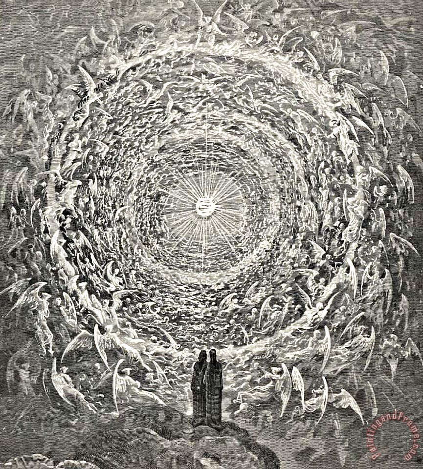 Circle Of Angels Dante's Paradise Illustration painting - Gustave Dore Circle Of Angels Dante's Paradise Illustration Art Print