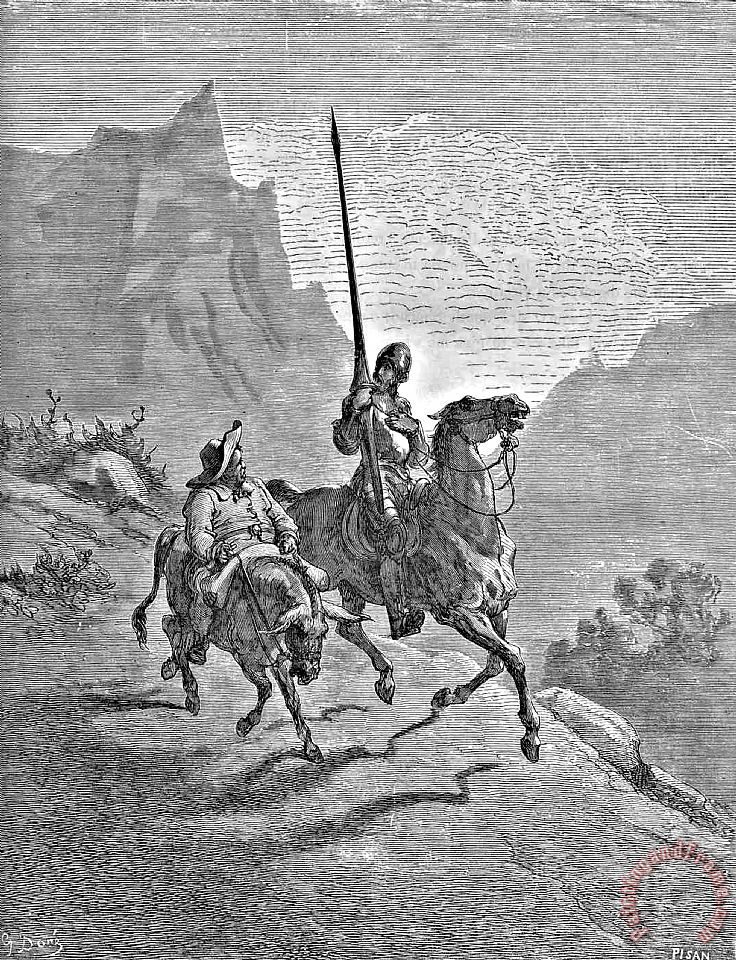 Don Quixote And Sancho Panza Illustration painting - Gustave Dore Don Quixote And Sancho Panza Illustration Art Print