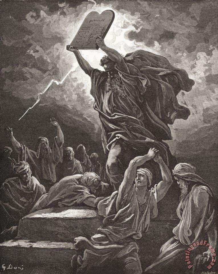 Moses Breaking The Tablets Of The Law painting - Gustave Dore Moses Breaking The Tablets Of The Law Art Print