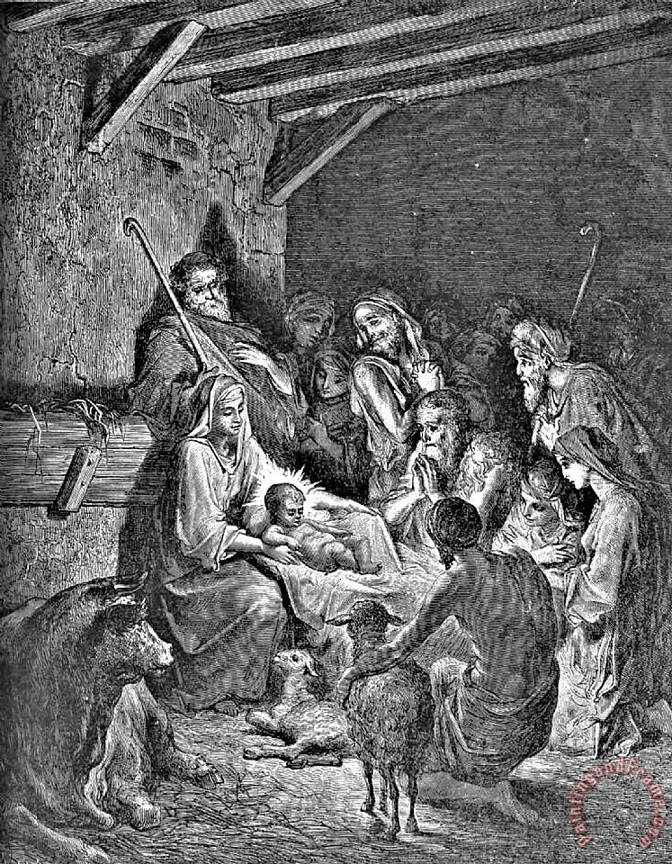 Nativity Bible Illustration Engraving painting - Gustave Dore Nativity Bible Illustration Engraving Art Print