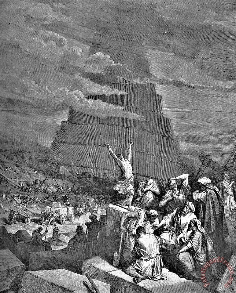 Tower Of Babel Bible Illustration painting - Gustave Dore Tower Of Babel Bible Illustration Art Print