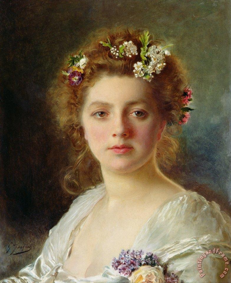 Gustave Jean Jacquet Flora painting - Flora print for sale