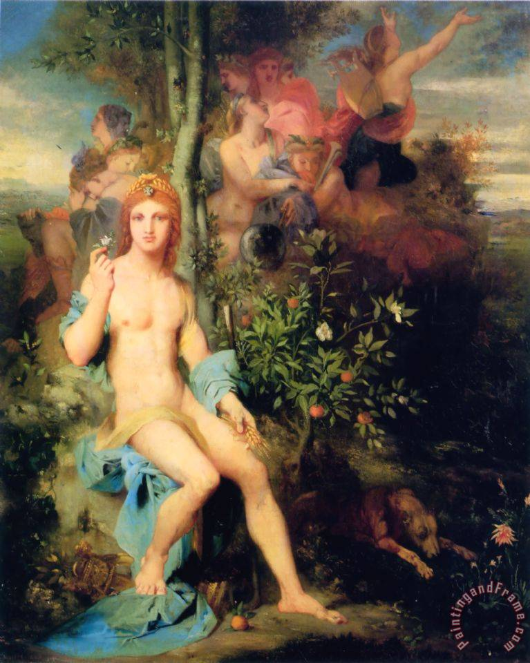 Apollo And The Nine Muses painting - Gustave Moreau Apollo And The Nine Muses Art Print