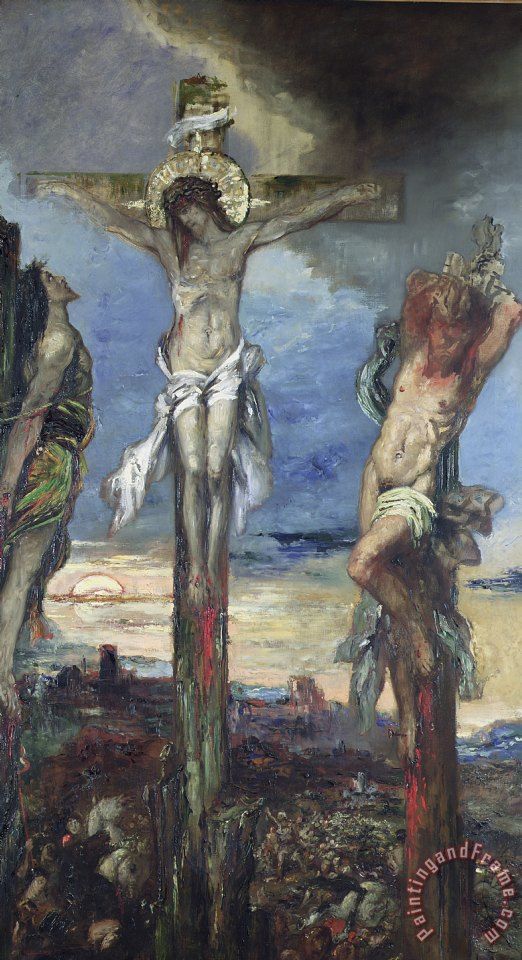 Christ between the Two Thieves painting - Gustave Moreau Christ between the Two Thieves Art Print