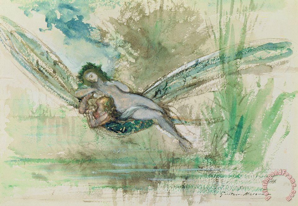 Dragonfly painting - Gustave Moreau Dragonfly Art Print