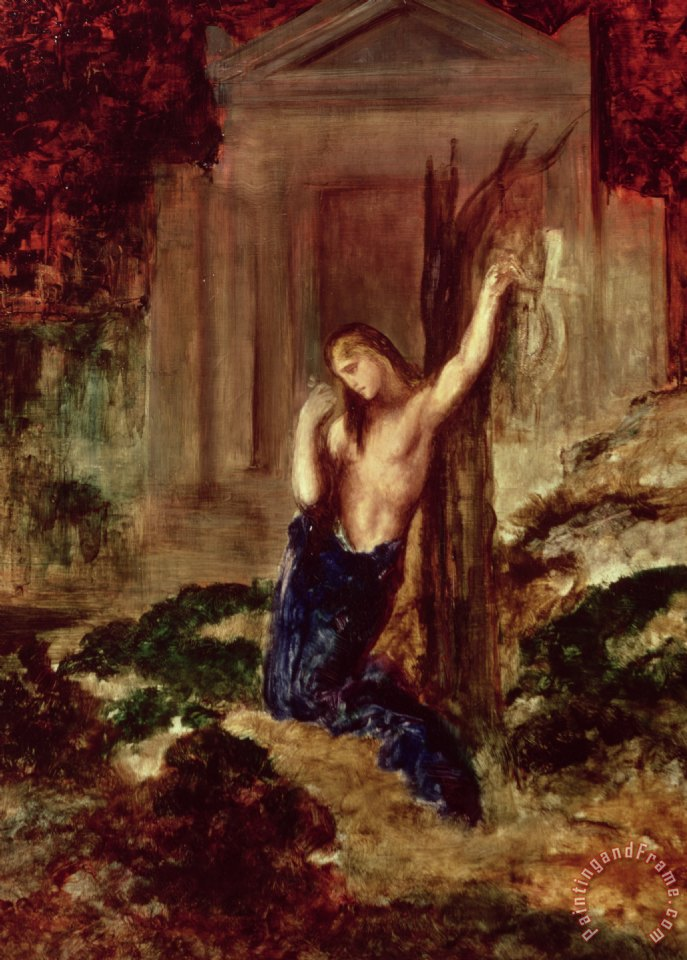 Orpheus At The Tomb Of Eurydice painting - Gustave Moreau Orpheus At The Tomb Of Eurydice Art Print