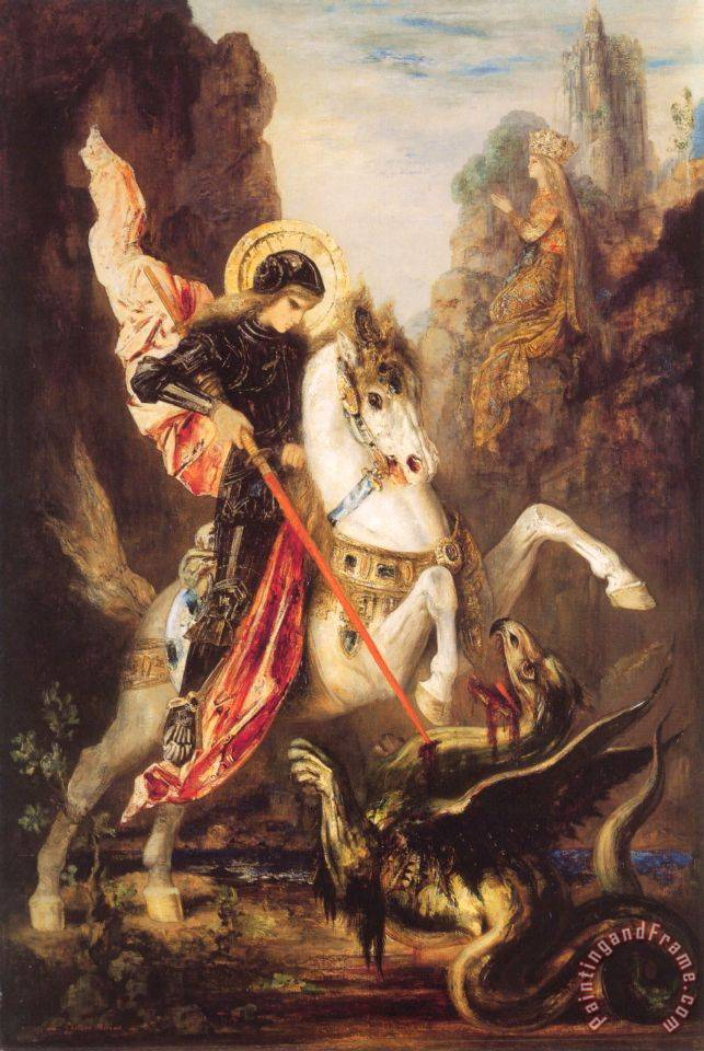 Saint George painting - Gustave Moreau Saint George Art Print