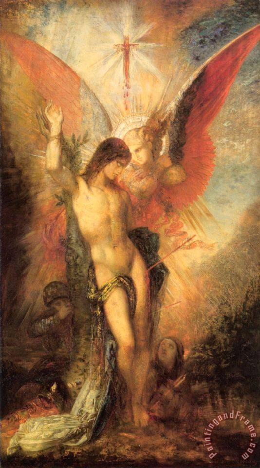 Saint Sebastian And The Angel painting - Gustave Moreau Saint Sebastian And The Angel Art Print