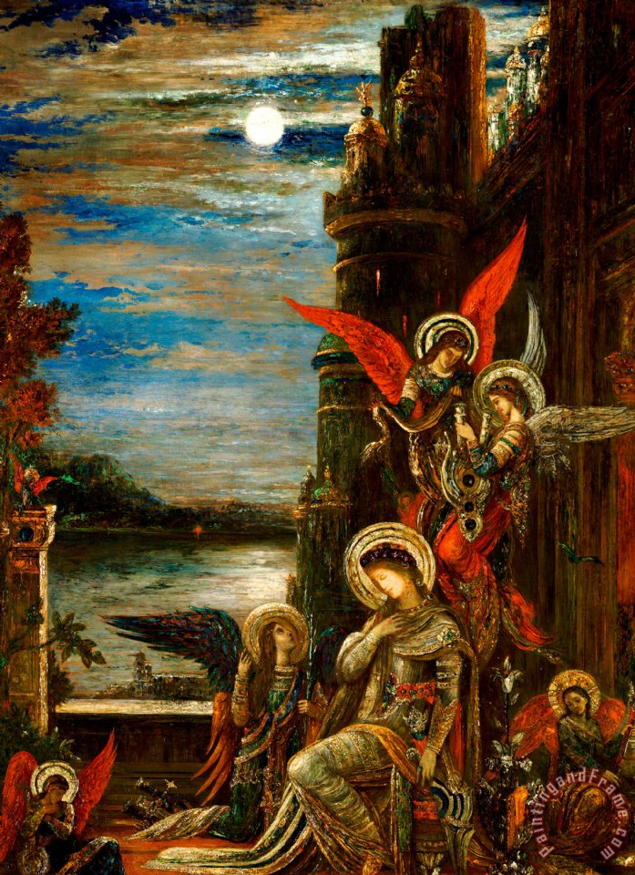 St Cecilia The Angels Announcing Her Coming Martyrdom painting - Gustave Moreau St Cecilia The Angels Announcing Her Coming Martyrdom Art Print