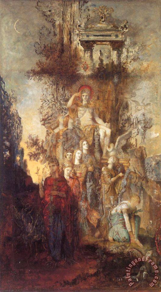The Muses Leaving Their Father Apollo to Go And Enlighten The World painting - Gustave Moreau The Muses Leaving Their Father Apollo to Go And Enlighten The World Art Print