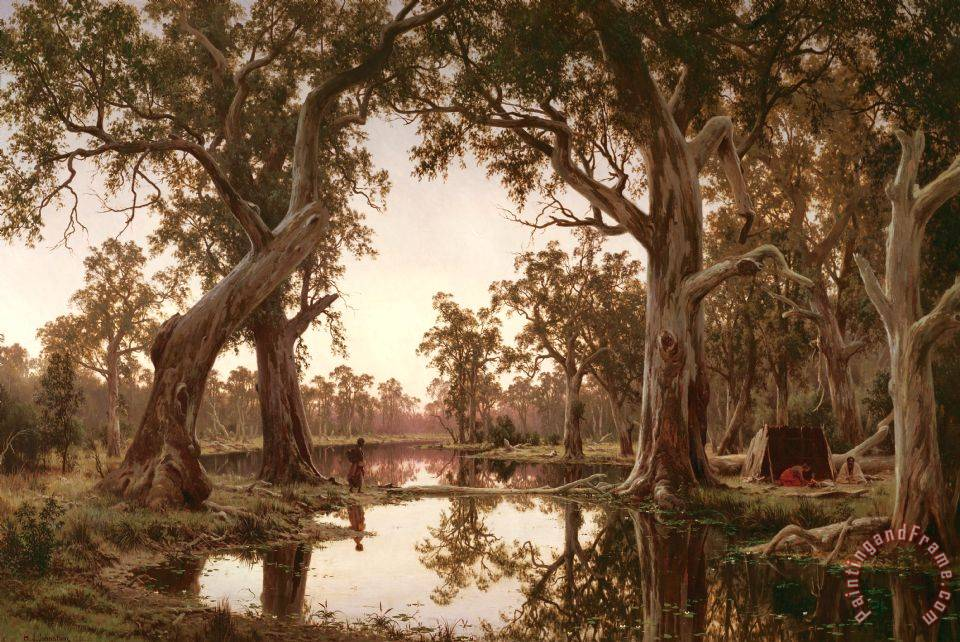 H J. Johnstone Evening Shadows, Backwater of The Murray, South Australia Art Print