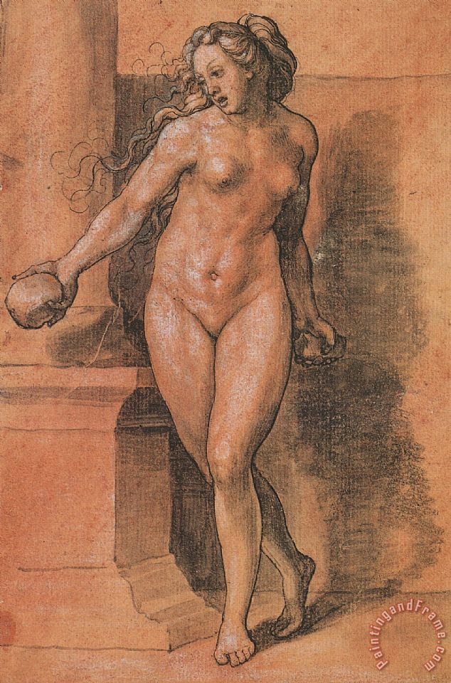 Female Nude Stone Thrower painting - Hans Holbein the Younger Female Nude Stone Thrower Art Print