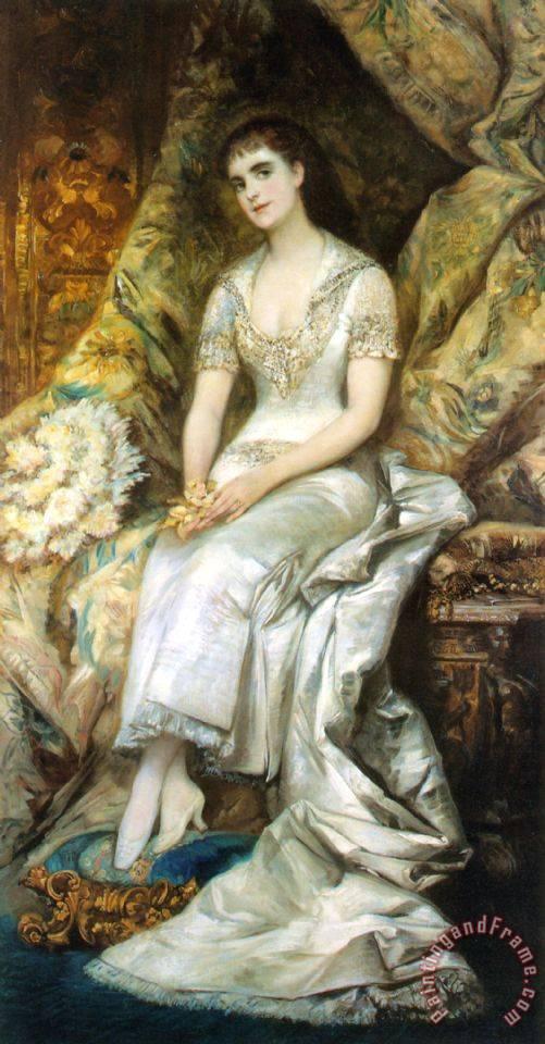 Hans Makart An Elegant Lady Painting
