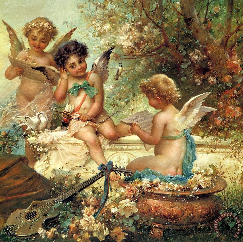 Angels painting - Hans Zatzka Angels Art Print