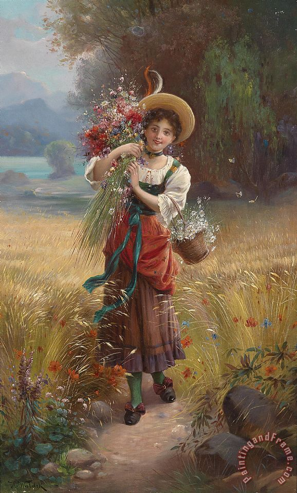 Hans Zatzka Circle Flower Girl Art Print