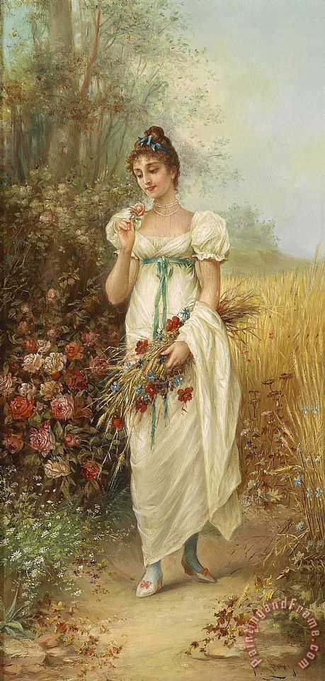 Hans Zatzka Circle Girl with Meadow Flowers And Roses Art Print