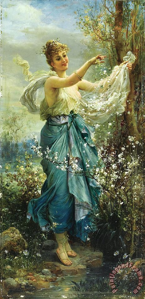 Girl with Flowers painting - Hans Zatzka Girl with Flowers Art Print