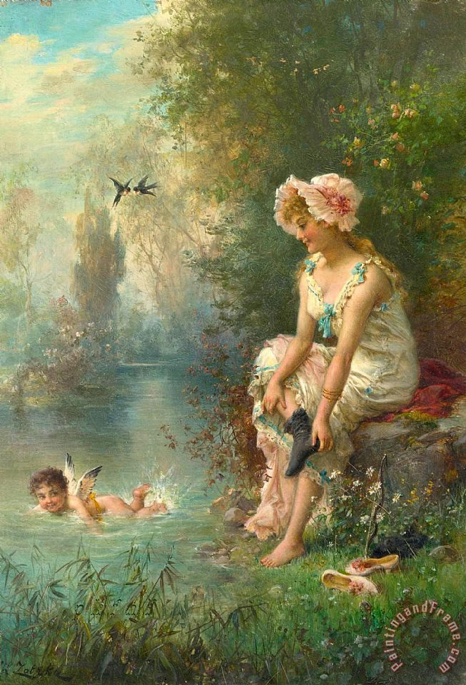 Hans Zatzka Love by The River's Edge Art Print