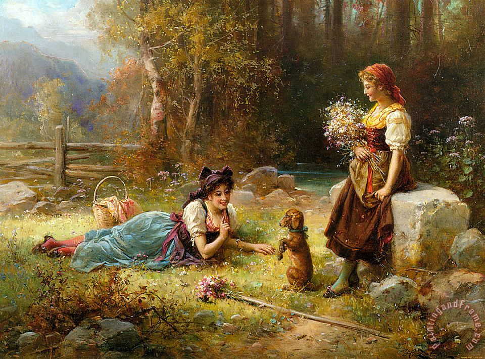 Obedience painting - Hans Zatzka Obedience Art Print