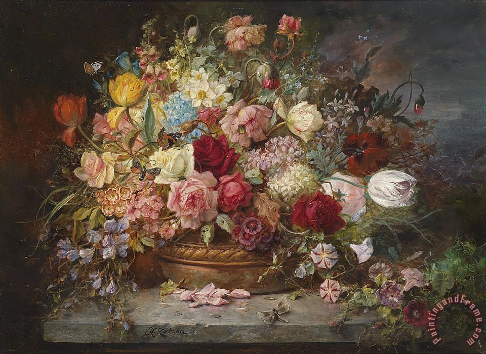 Still Life with Spring Flowers painting - Hans Zatzka Still Life with Spring Flowers Art Print